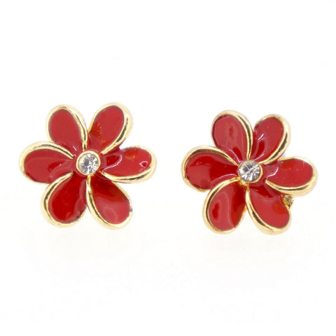 Color Enamel Fashion Jewelry Earrings for Teen Girl Women Red Flower
