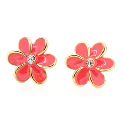 Color Enamel Fashion Jewelry Earrings for Teen Girl Women Pink Flower