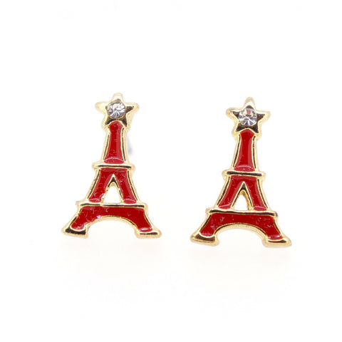Color Enamel Fashion Jewelry Earrings for Teen Girl Women Red Eiffel Tower