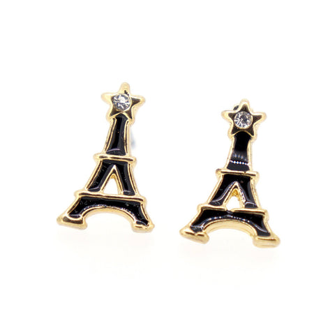 Color Enamel Fashion Jewelry Earrings for Teen Girl Women Black Eiffel Tower