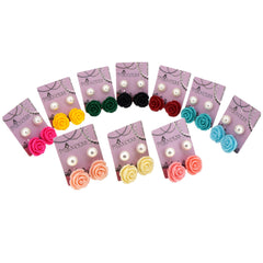 Wholesale Lot of Fashion Jewelry Color Rose n 10mm Faux Pearl Stud Earrings