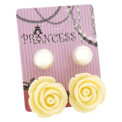 White Color Rose n 10mm Faux Pearl Stud Earrings Fashion Jewelry Lot of 2 Pairs