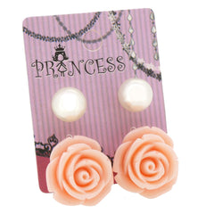 Cream Color Rose n 10mm Faux Pearl Stud Earrings Fashion Jewelry Lot of 2 Pairs