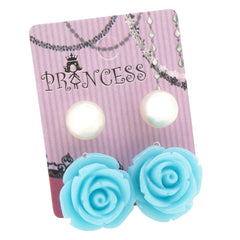 Sea Blue Color Rose n 10mm Faux Pearl Stud Earrings Fashion Jewelry Lot of 2 Pairs