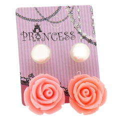 Peach Color Rose n 10mm Faux Pearl Stud Earrings Fashion Jewelry Lot of 2 Pairs