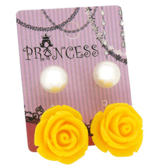Yellow Color Rose n 10mm Faux Pearl Stud Earrings Fashion Jewelry Lot of 2 Pairs