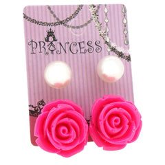 Hot Pink Color Rose n 10mm Faux Pearl Stud Earrings Fashion Jewelry Lot of 2 Pairs