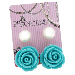 Teal Color Rose n 10mm Faux Pearl Stud Earrings Fashion Jewelry Lot of 2 Pairs
