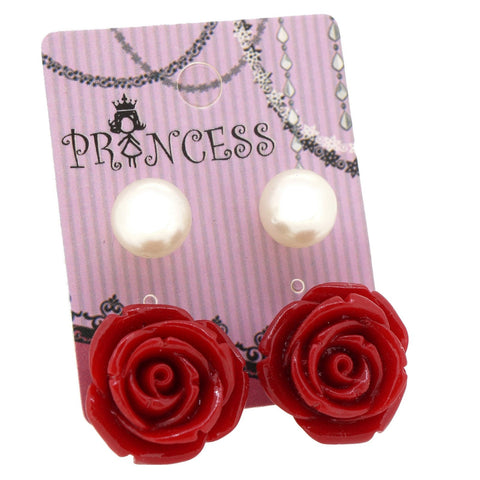 Red Color Rose n 10mm Faux Pearl Stud Earrings Fashion Jewelry Pack of 2 Pairs