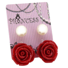 Red Color Rose n 10mm Faux Pearl Stud Earrings Fashion Jewelry Lot of 2 Pairs