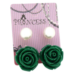 Green Color Rose n 10mm Faux Pearl Stud Earrings Fashion Jewelry Lot of 2 Pairs