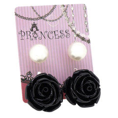 Black Color Rose n 10mm Faux Pearl Stud Earrings Fashion Jewelry Lot of 2 Pairs