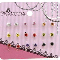 4mm Multi CZ Color Cubic Zirconia Crystal Stud Earrings for Teen Girls Women, Pack of 9 Pairs