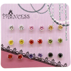 5mm Multi CZ Color Cubic Zirconia Crystal Stud Earrings for Teen Girls Women, Pack of 9 Pairs