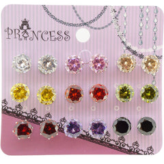 8mm Multi Color CZ Cubic Zirconia Crystal Stud Earrings for Teen Girls Women, Pack of 9 Pairs