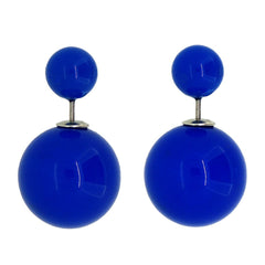 Women's Double Side Candy Color Stud Ball Earrings, RoyalBlue Color