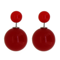 Women's Double Side Candy Color Stud Ball Earrings, OrangeRed Color