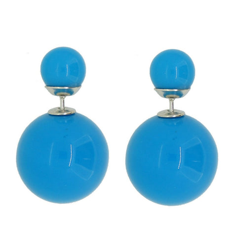Women's Double Side Candy Color Stud Ball Earrings, DeepSkyBlue Color