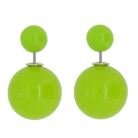 Women's Double Side Candy Color Stud Ball Earrings, LawnGreen Color