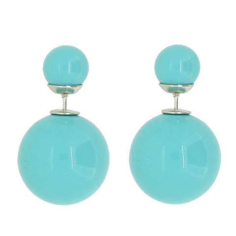 Women's Double Side Candy Color Stud Ball Earrings, Turquoise Color