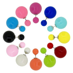 Women's Double Side Candy Color Stud Ball Earrings, Pack of 12 Pairs