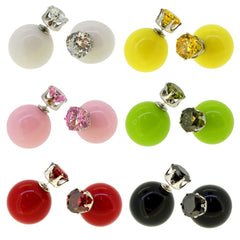 Women's Reversible Double Side Candy Color with CZ Crystal Stud Ball Earrings, Pack of 6 Pairs