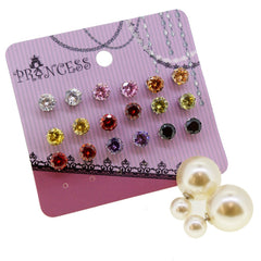 Women's Reversible Double Side Imitation Pearl Stud Ball with CZ Crystal Stud Earrings, Pack of 1+9 Pairs