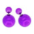 Women's Double Side Electroplated Plastic Ball Stud Earrings, Dark Violet Color, 1 pair