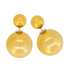 Women's Double Side Electroplated Plastic Ball Stud Earrings, Light Khaki Color, 1 pair