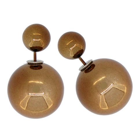 Women's Double Side Electroplated Plastic Ball Stud Earrings, Dark Golden Rod Color, 1 pair