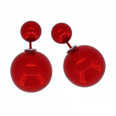 Women's Double Side Electroplated Plastic Ball Stud Earrings, Red Color, 1 pair