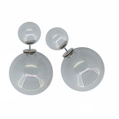 Women's Double Side Electroplated Plastic Ball Stud Earrings, Silver Color, 1 pair