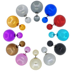Women's Double Side Electroplated Plastic Ball Stud Earrings, Pack of 12 pairs