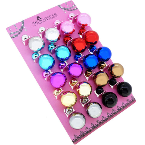 Women's Double Side Electroplated Plastic Ball Stud Earrings, Pack of 10 pairs