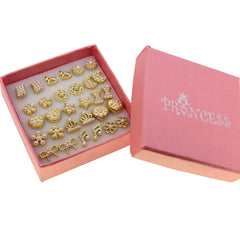 Faux Pearl Golden Tone Elegant Fashion Jewelry Stud Earrings, Box of 12 Pairs
