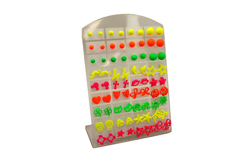 Wholesale lot of Pairs Neon Color Fluorescent Ball Stud Earrings for Teen Girls Women