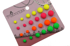 Neon Color Fluorescent Bead Stud Earrings for Teen Girls Kids Women