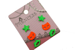 Neon Color Fluorescent Ball Stud Earrings for Kids Teen Girls Women