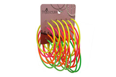 Neon Color Fluorescent Hoop Earrings,  Pack of 12 Pairs, 3 Sizes