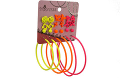 Neon Color Fluorescent Hoop n Stud Earrings Teen Girls Kids Women, 12 Prs