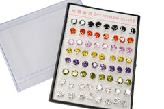 Wholesale Lot of 6mm Color CZ Crystal 925 Sterling Silver Earstud Studs Earrings