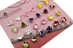 Sterling Silver .925, Cubic Zirconia Crystal Stud Earrings, 4mm , 12 Pairs
