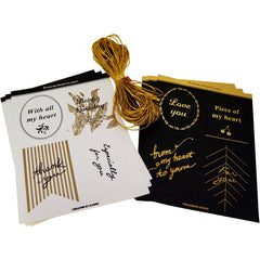 8 Styles Black and White Gift Tags with Gold String for Shop Wrapping Packaging, Pack of 24