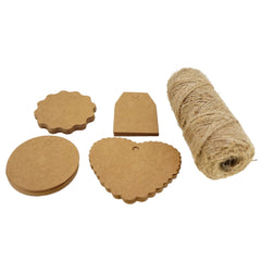 4 Styles Kraft Paper Gift / Price Tags with Jute Twine for Gift Wrapping Packaging, Set of 50