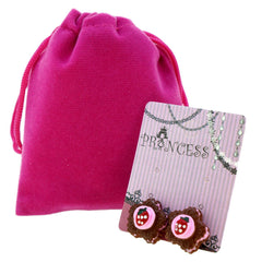 Chocolate Cake with Strawberry Clip-on Stud Earrings for Kids Teenage Girls Daughter Party Gift