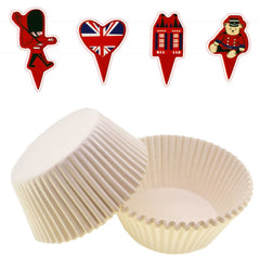 UK London Theme Cupcake Bun Cake Topper with White Liners Party Decoration, Pack of 95