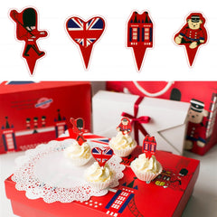 UK London Theme Favor Tags Cupcake Bun Cake Topper Party Decoration, Pack of 95