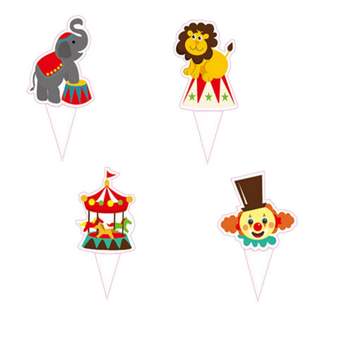 Circus Carnival Theme Favor Tags Cupcake Bun Cake Topper Party Decoration, Pack of 95