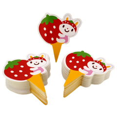 Strawberry Rabbit Theme Favor Tags Cupcake Bun Cake Topper Party Decoration, Pack of 95