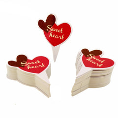 Sweet Heart Theme Favor Tags Cupcake Bun Cake Topper Party Decoration, Pack of 95